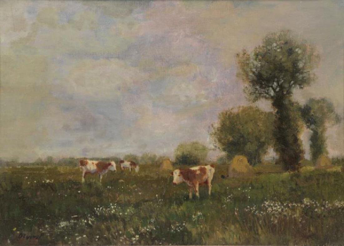 OLGYAI, Ferenc. Oil on Canvas. Cows in Pasture.