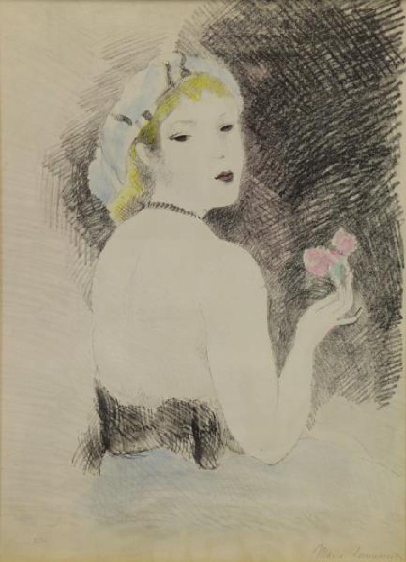 """LAURENCIN, Marie. Hand Colored Lithograph """"Rose,"""