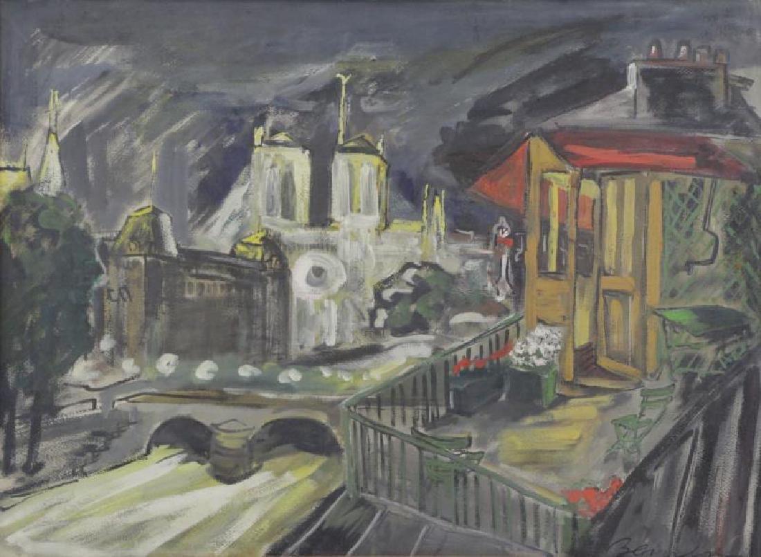 BEMELMANS, Ludwig. Gouache on Paper. View of Paris
