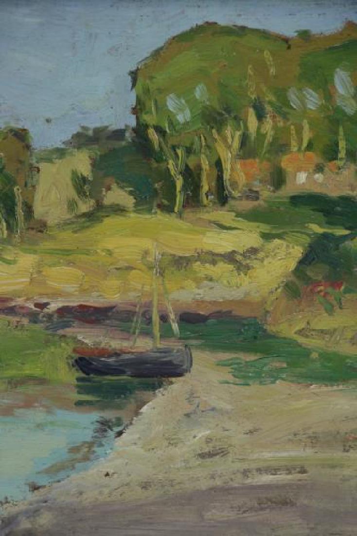 """BROWNE, George Elmer. Oil on Board """"Low Tide"""". - 3"""