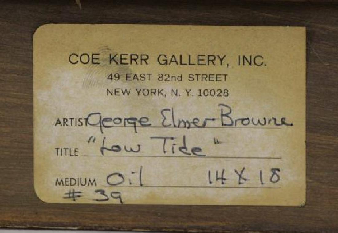 """BROWNE, George Elmer. Oil on Board """"Low Tide"""". - 9"""