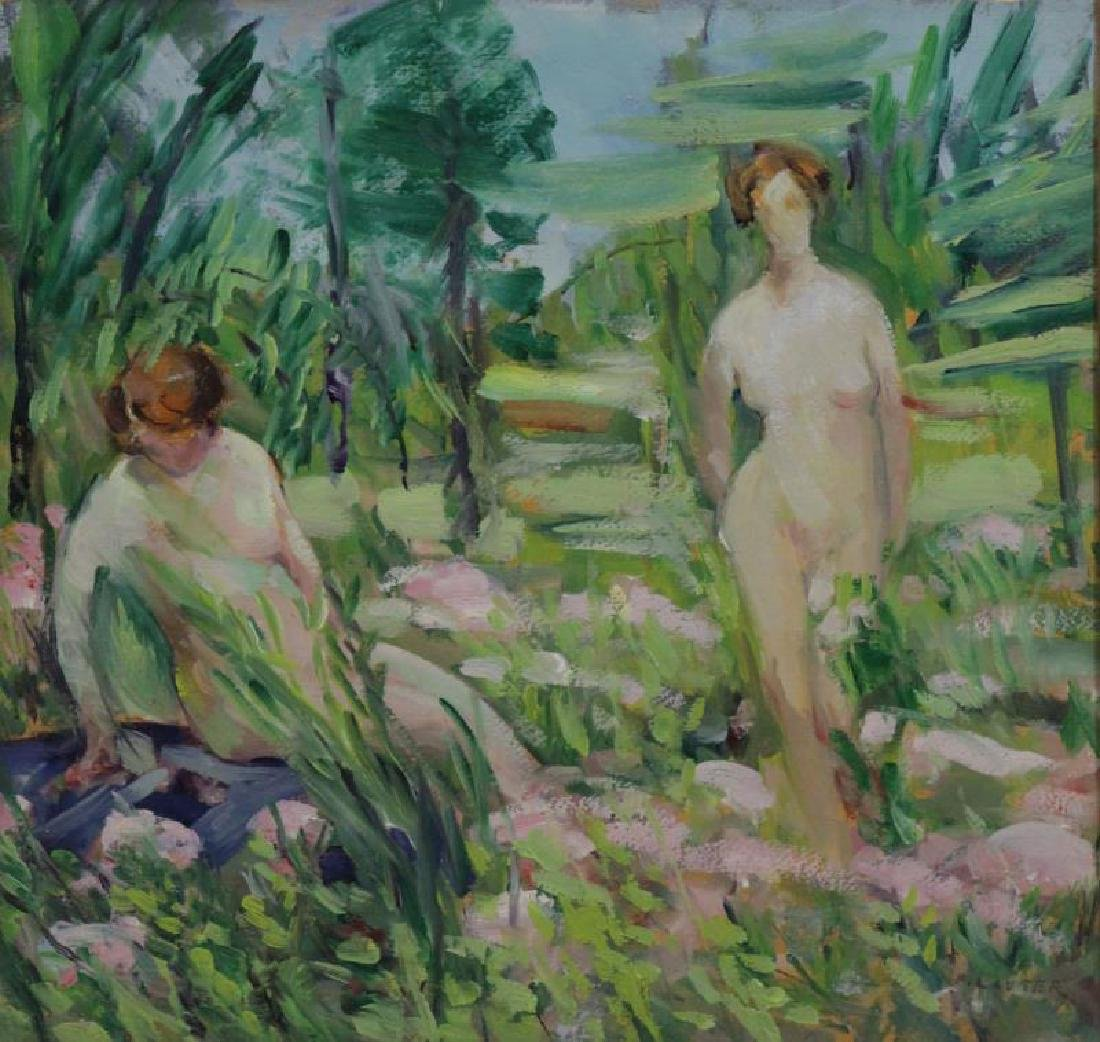 LAUTER, Flora. Oil on Board. Nudes in a Garden.