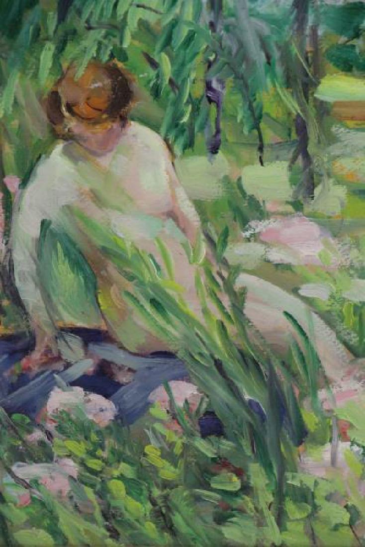 LAUTER, Flora. Oil on Board. Nudes in a Garden. - 4