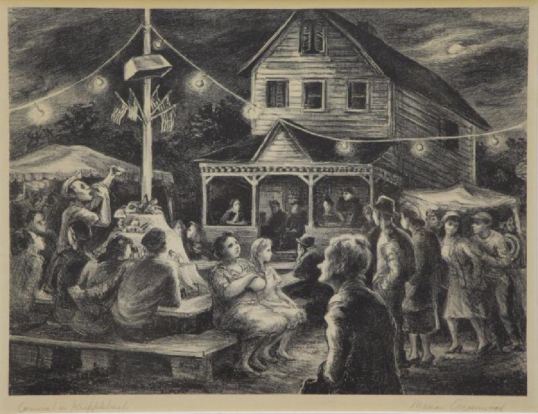"""GREENWOOD, Marion. Lithograph """"Carnival in"""