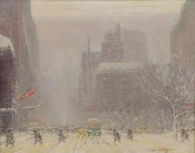 BERTHELSEN, Johann. Oil on Canvas. Fifth Avenue in