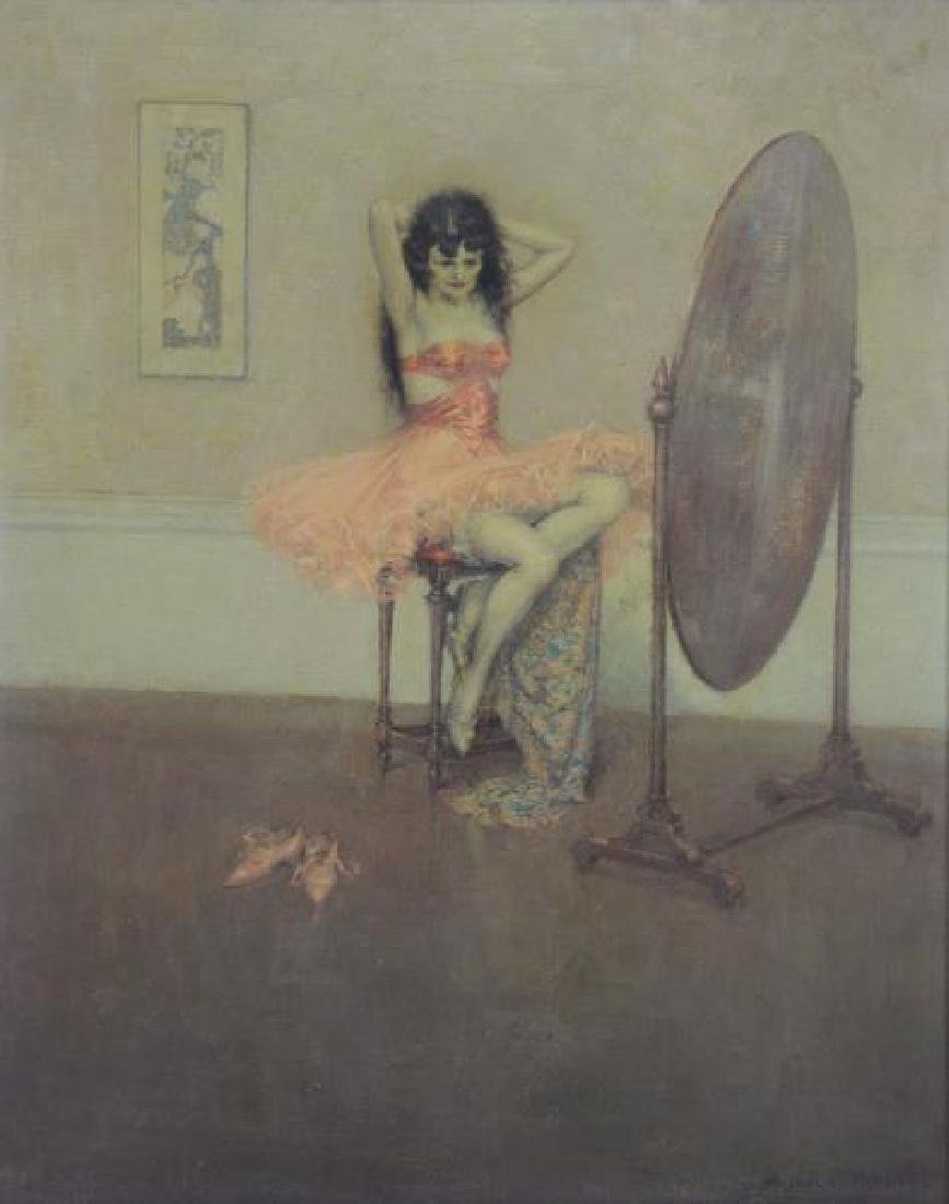 PARCELL, Malcolm. Oil on Canvas. Girl at Vanity.
