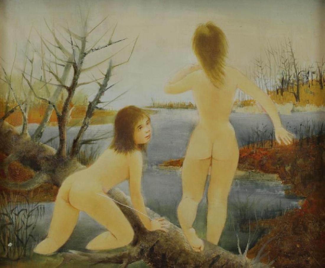 LAVARENNE, Pierre. Oil on Canvas. Nude Bathers.