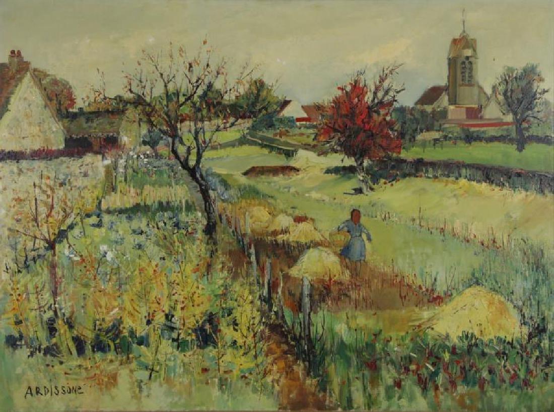 "ARDISSONE, Yolande. Oil on Canvas. ""Fillette dans"