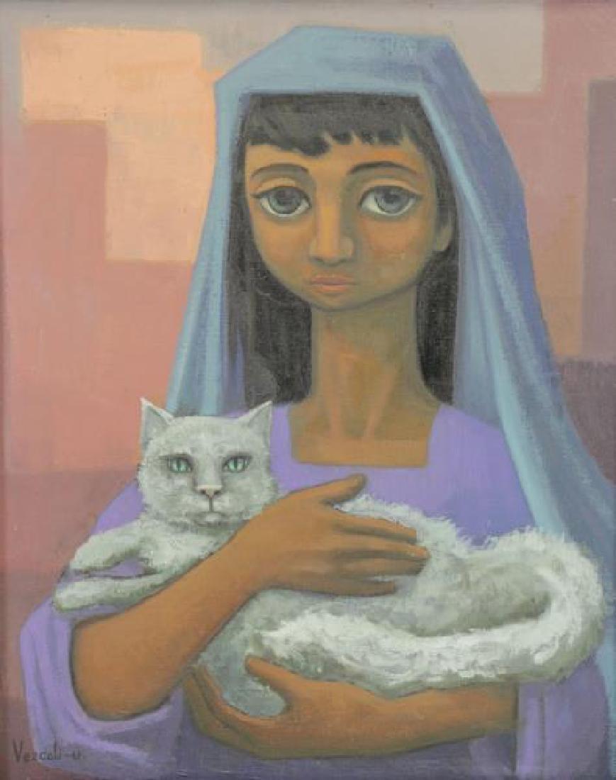 """VEZCALI, Luis. Oil on Canvas """"Nina Con Gato"""" 1961."""