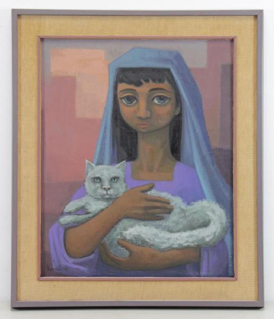 """VEZCALI, Luis. Oil on Canvas """"Nina Con Gato"""" 1961. - 2"""