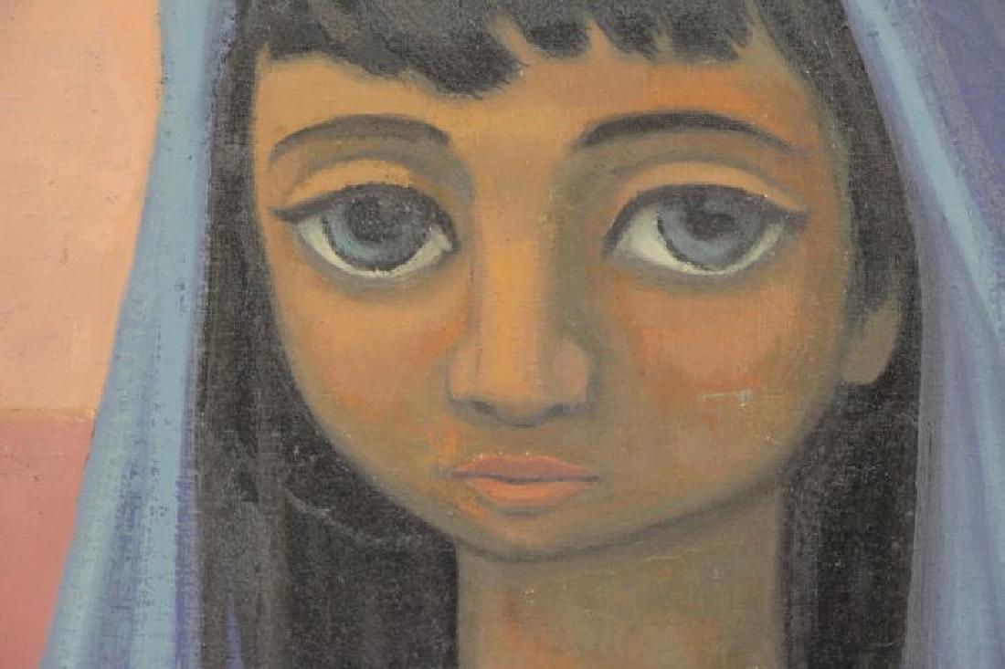 """VEZCALI, Luis. Oil on Canvas """"Nina Con Gato"""" 1961. - 3"""