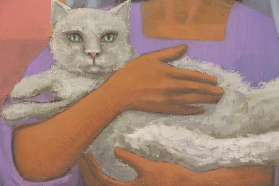"""VEZCALI, Luis. Oil on Canvas """"Nina Con Gato"""" 1961. - 4"""