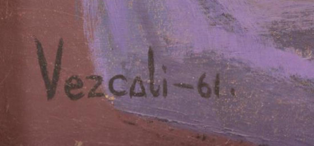 """VEZCALI, Luis. Oil on Canvas """"Nina Con Gato"""" 1961. - 5"""