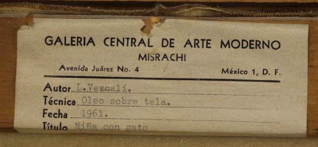 """VEZCALI, Luis. Oil on Canvas """"Nina Con Gato"""" 1961. - 8"""