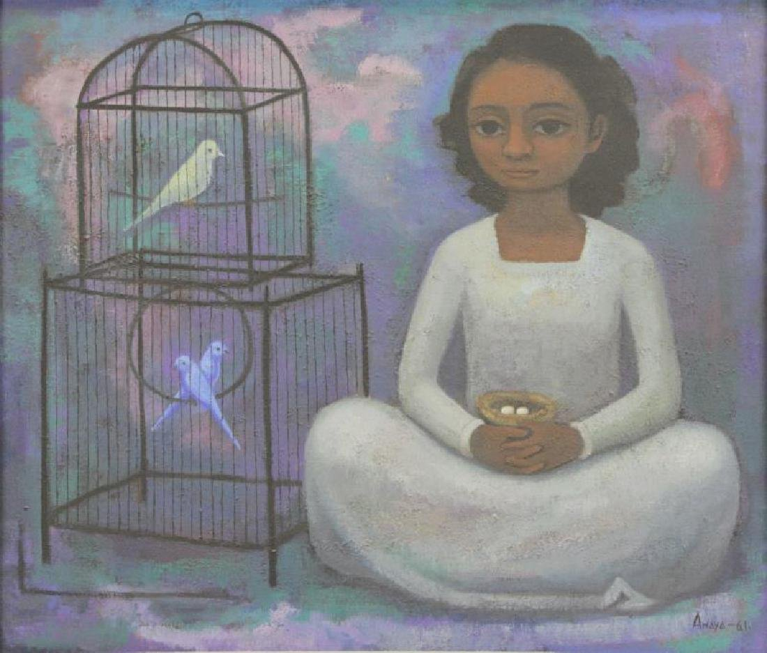 "ANAYA, Luis. Oil on Canvas ""Nina con Pajaros"" 1961"