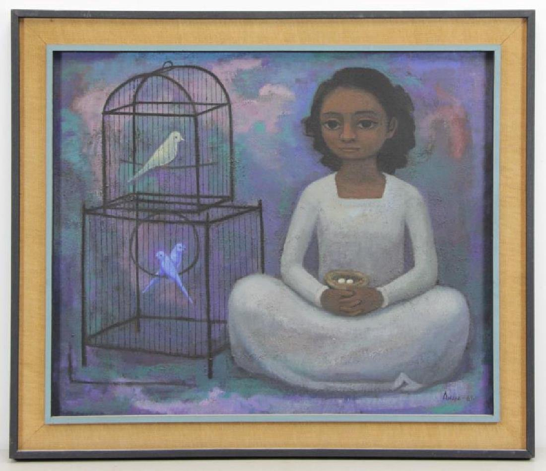 "ANAYA, Luis. Oil on Canvas ""Nina con Pajaros"" 1961 - 2"
