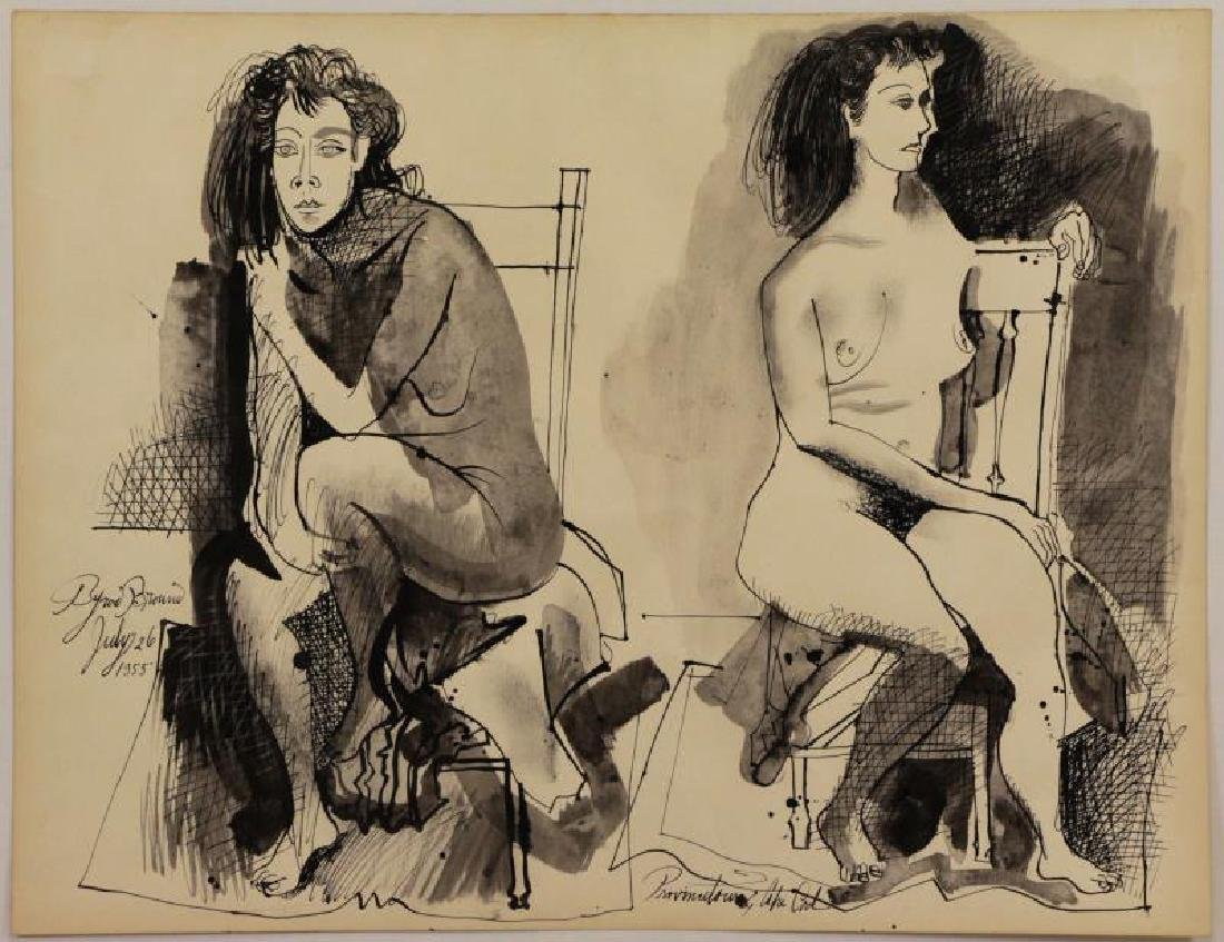 BROWNE, Byron. Ink on Paper. Two Seated Nudes.