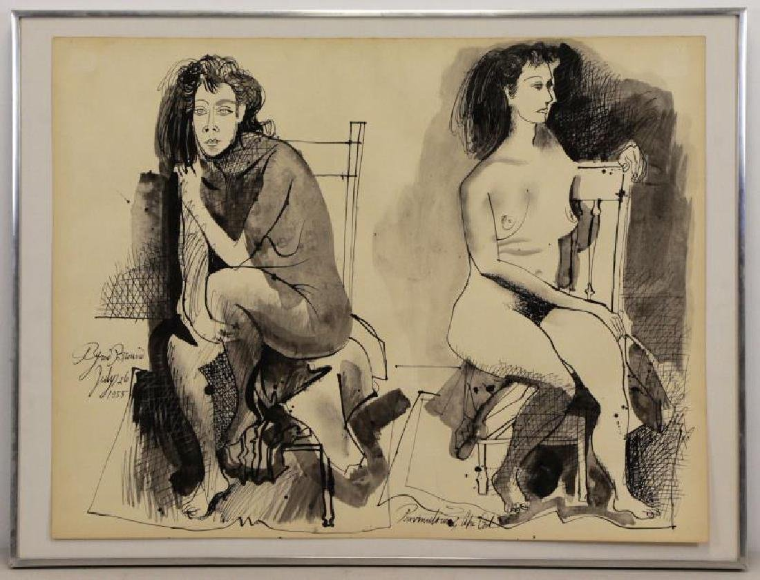 BROWNE, Byron. Ink on Paper. Two Seated Nudes. - 2
