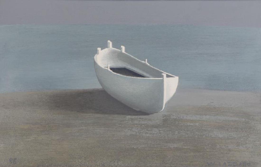 LAZZARO, Walter. Oil on Board. The White Boat,