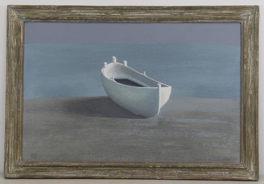 LAZZARO, Walter. Oil on Board. The White Boat, - 2