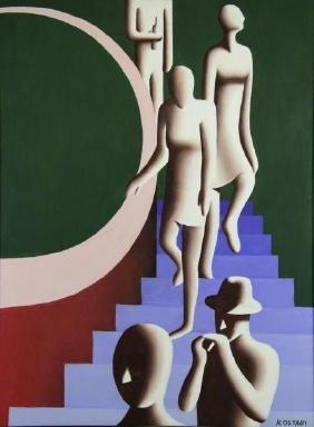 "KOSTABI, Mark. Oil on Canvas. ""Figures Descending"
