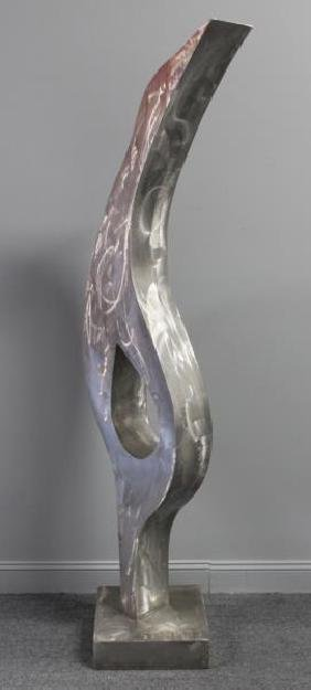 Large Monogrammed Abstract Aluminum Sculpture.