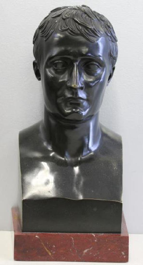 Patinated Bronze Bust of a Gentleman on Marble