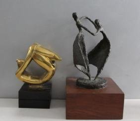 Group Lot of 2 Signed Bronze Sculptures.
