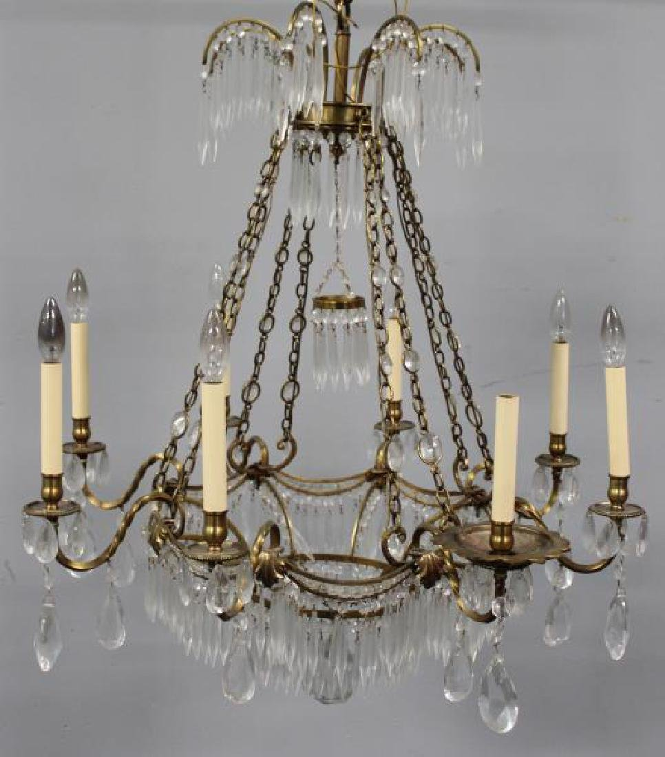 Antique Continental Gilt Metal and Crystal