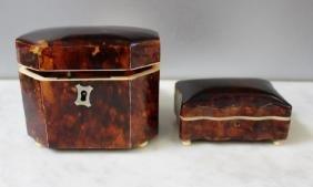 19 Century English Tortoise Shell Tea Caddy.