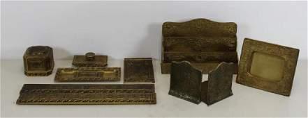 Tiffany Studios Gilt Bronze Desk Items To Inc,