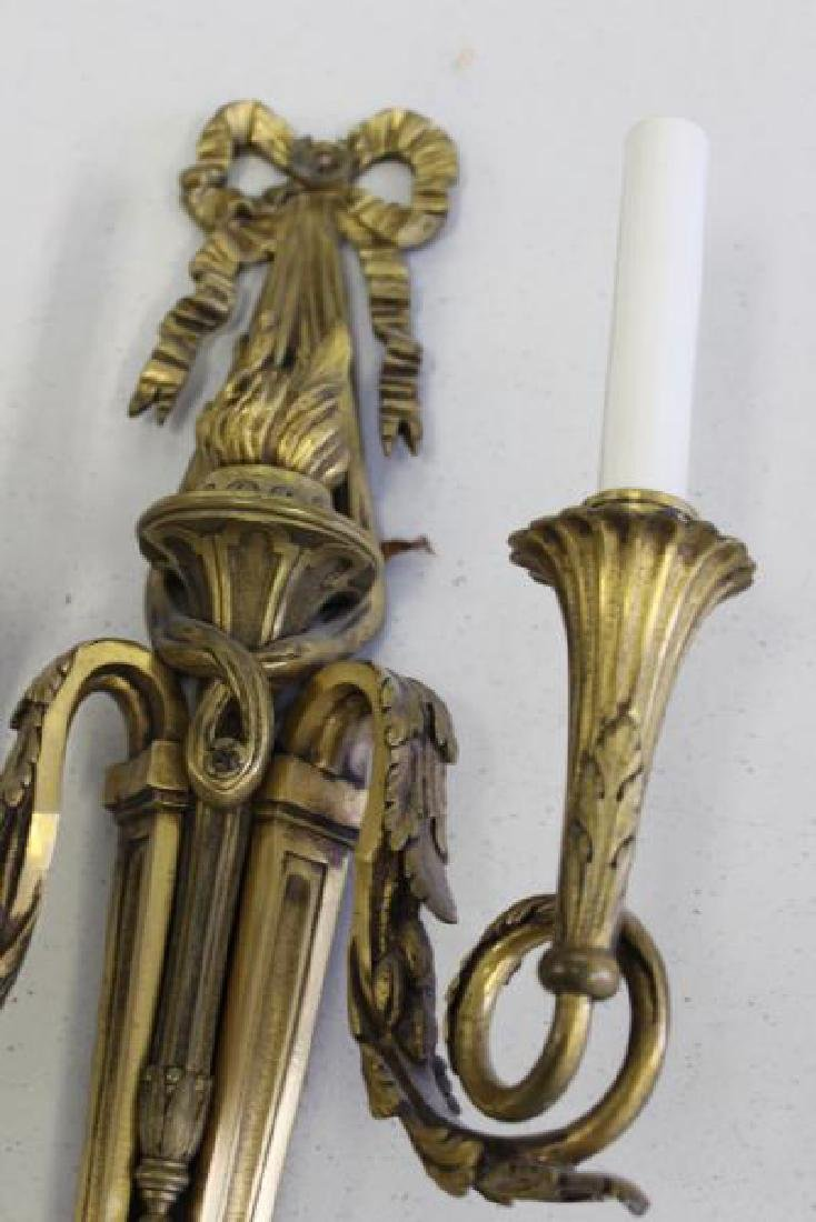 Pair of  French Quality Gilt Bronze 2 Arm Sconces. - 4