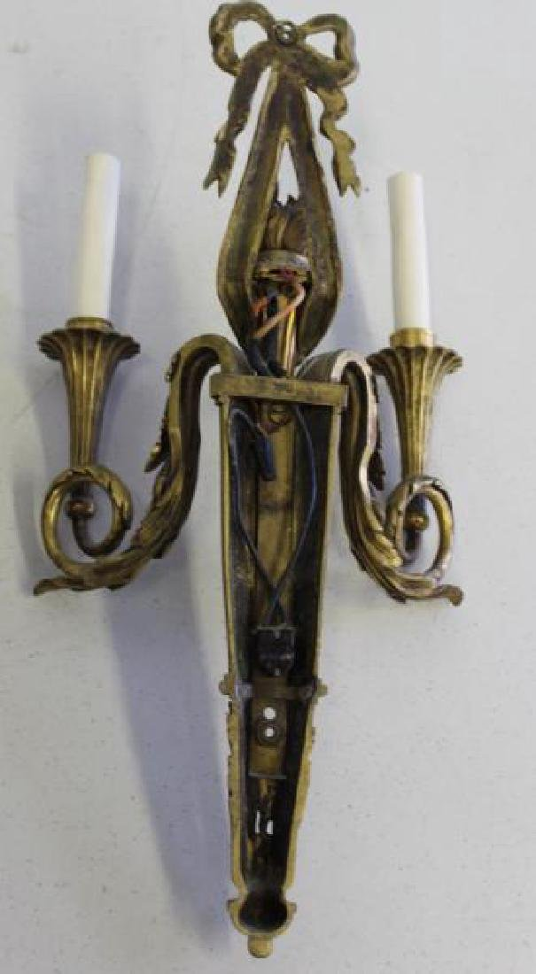 Pair of  French Quality Gilt Bronze 2 Arm Sconces. - 6