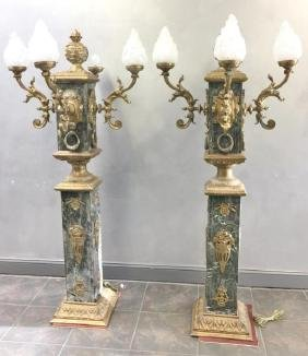 Pair of Vintage and Large Marble and