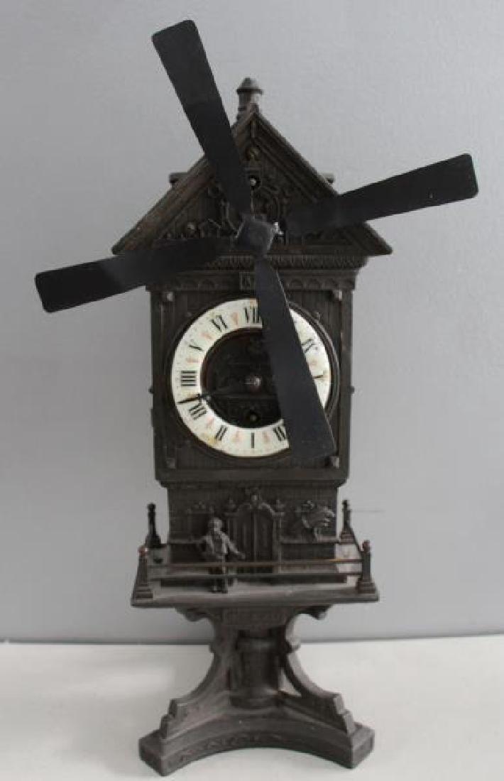"Patinated Metal ""Mount Jolly"" Windmill Clock."