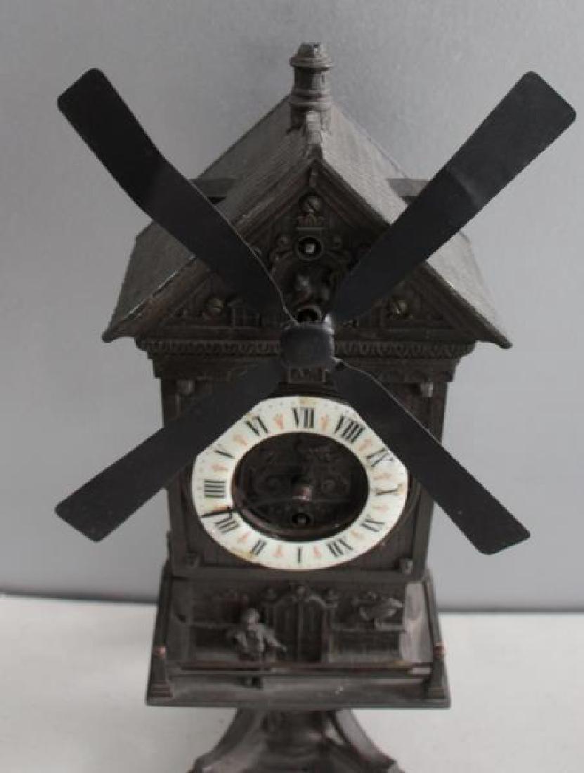 "Patinated Metal ""Mount Jolly"" Windmill Clock. - 3"