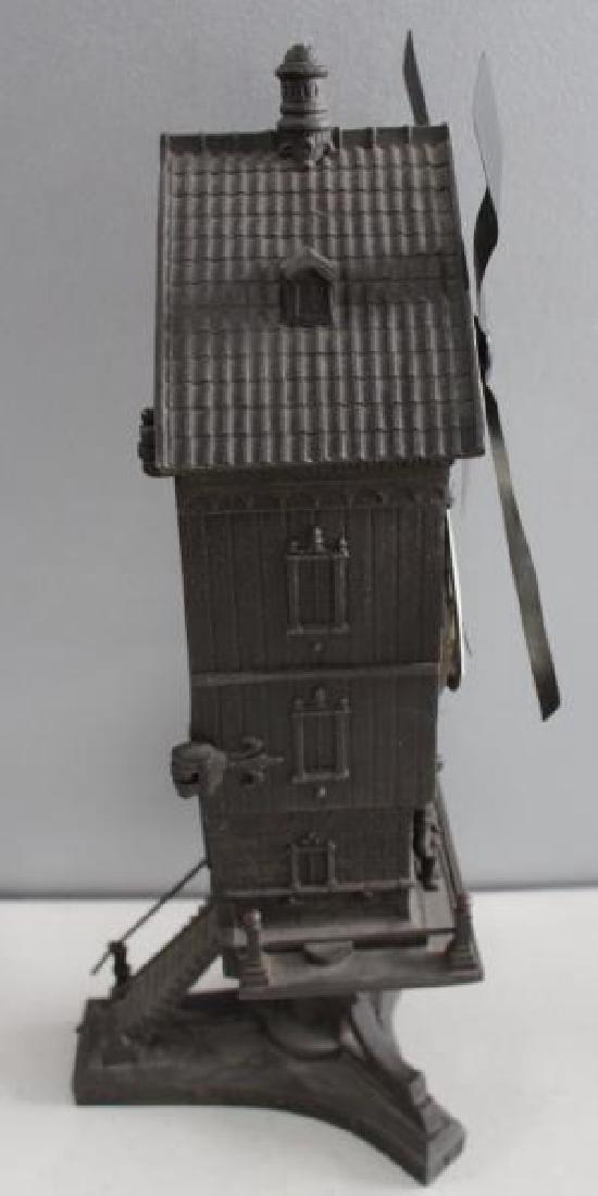 "Patinated Metal ""Mount Jolly"" Windmill Clock. - 4"