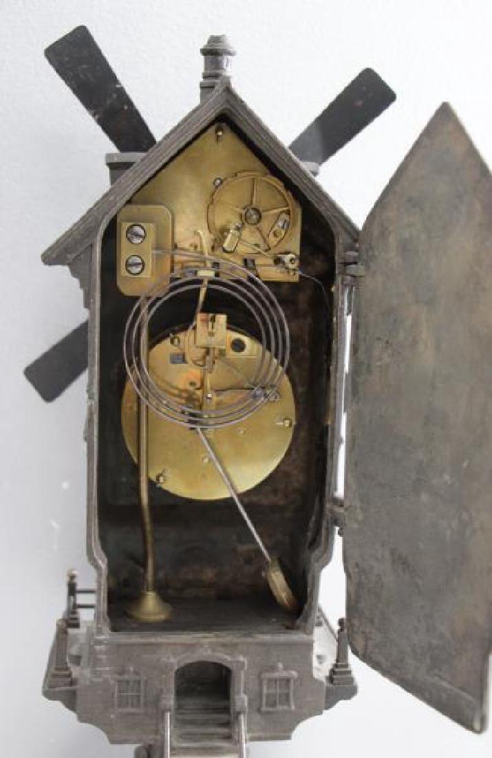 "Patinated Metal ""Mount Jolly"" Windmill Clock. - 6"