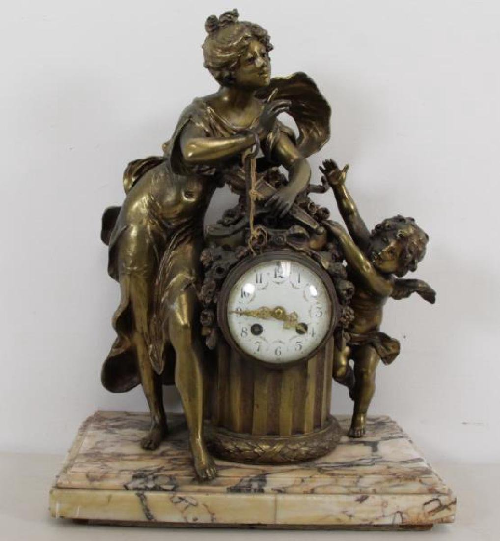 Quality Gilt Metal Figural Clock on Marble Base.