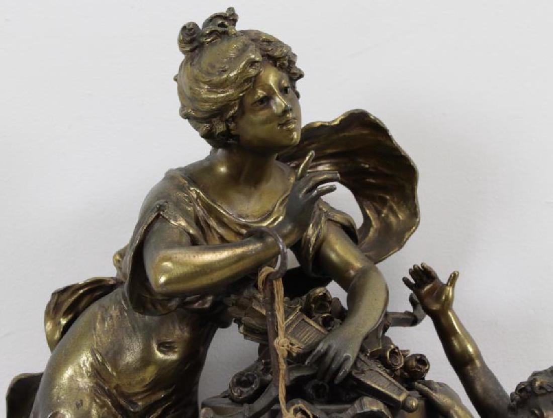 Quality Gilt Metal Figural Clock on Marble Base. - 2