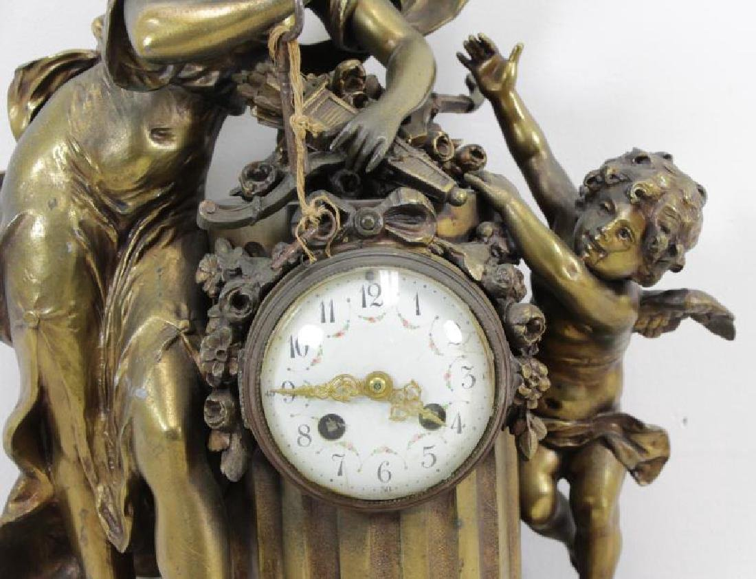 Quality Gilt Metal Figural Clock on Marble Base. - 3