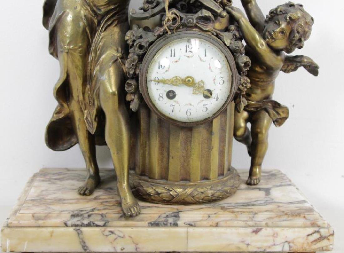 Quality Gilt Metal Figural Clock on Marble Base. - 4