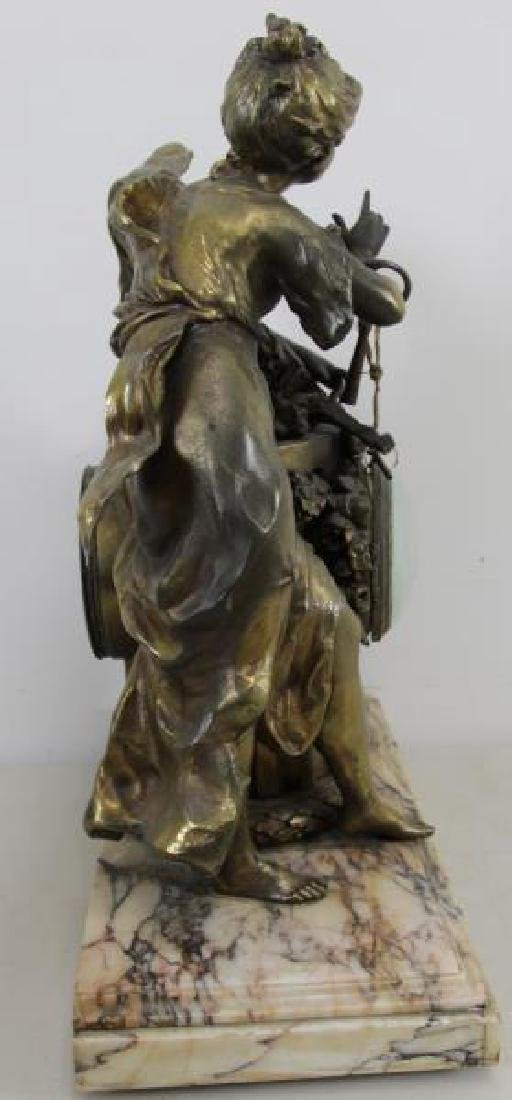 Quality Gilt Metal Figural Clock on Marble Base. - 5