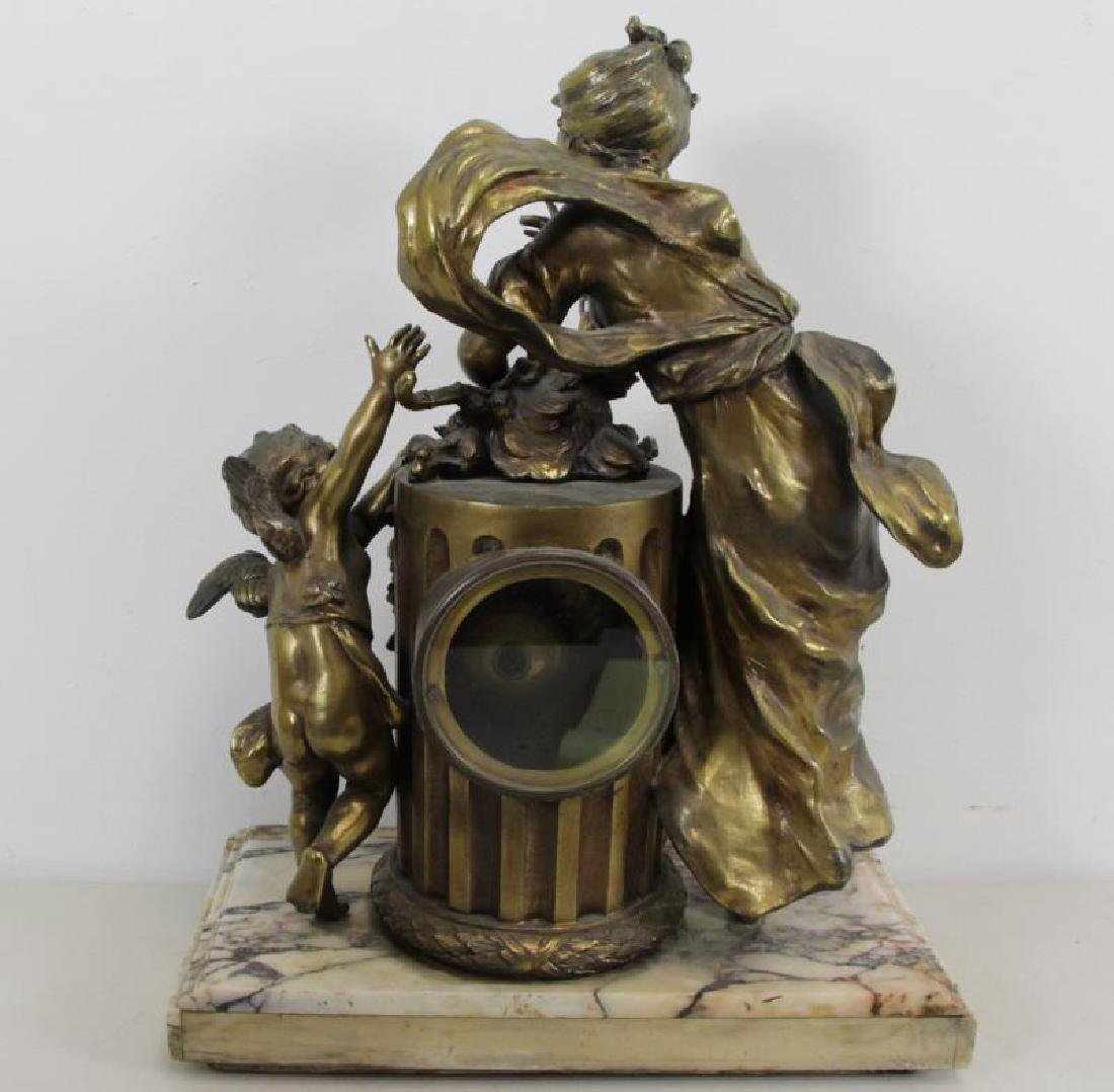 Quality Gilt Metal Figural Clock on Marble Base. - 6