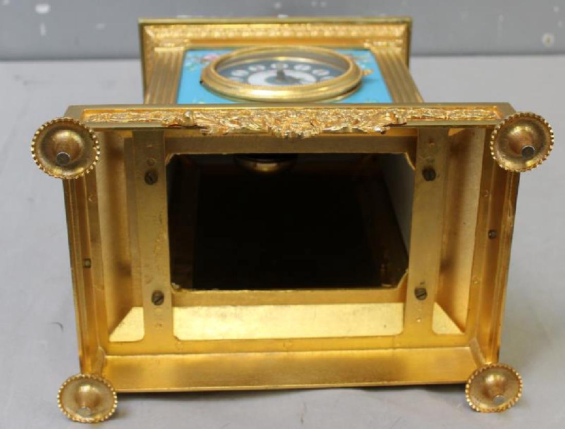 Bronze and Porcelain Carriage Clock with - 8