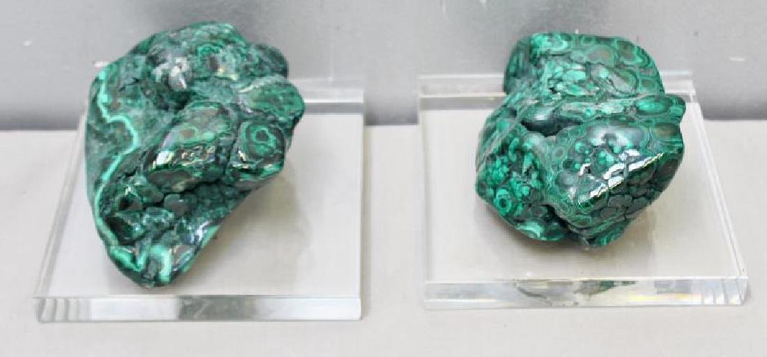 Set of Two Natural Malachite Specimen on Stands.