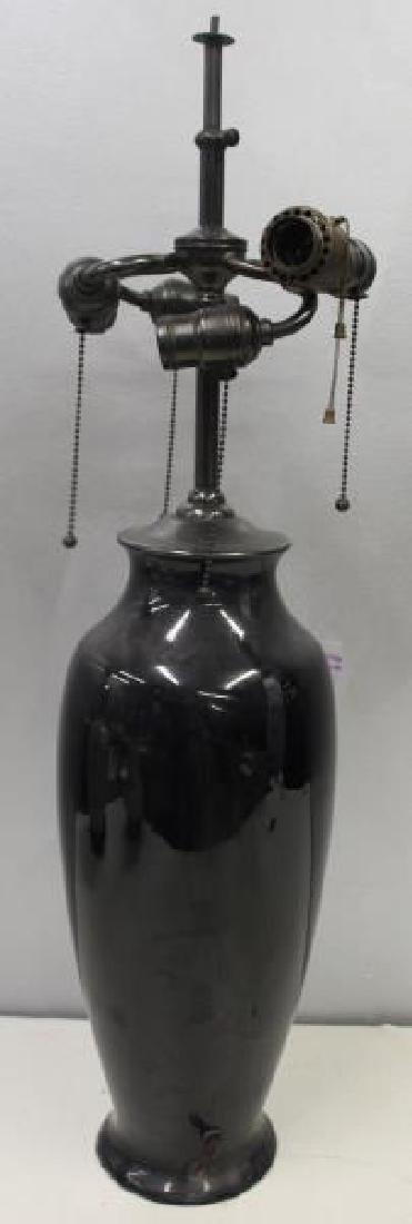 A Large Sized Pauleo Pottery Roseville Black Lamp