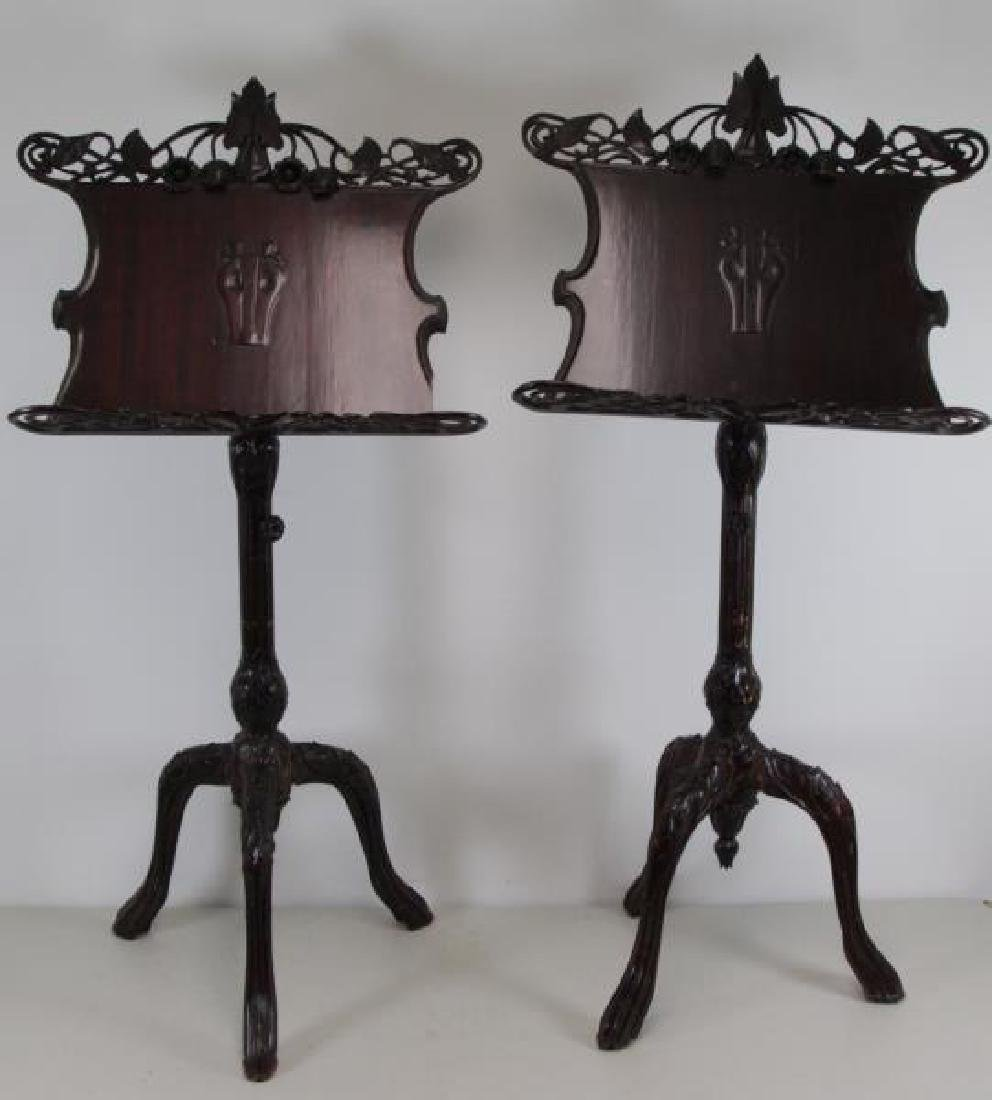 Pair of Finely Carved Art Nouveau Music Stands.