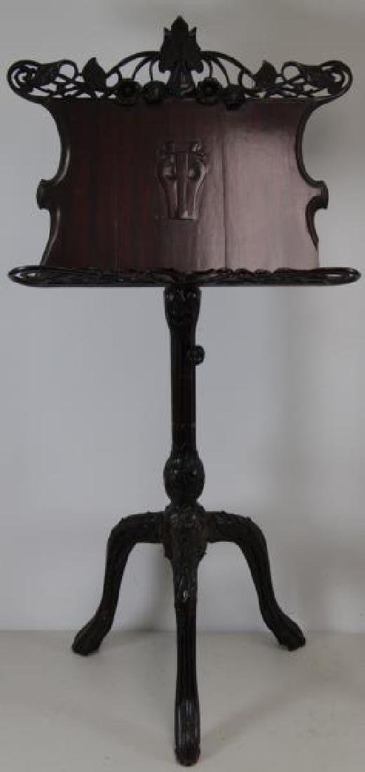 Pair of Finely Carved Art Nouveau Music Stands. - 2