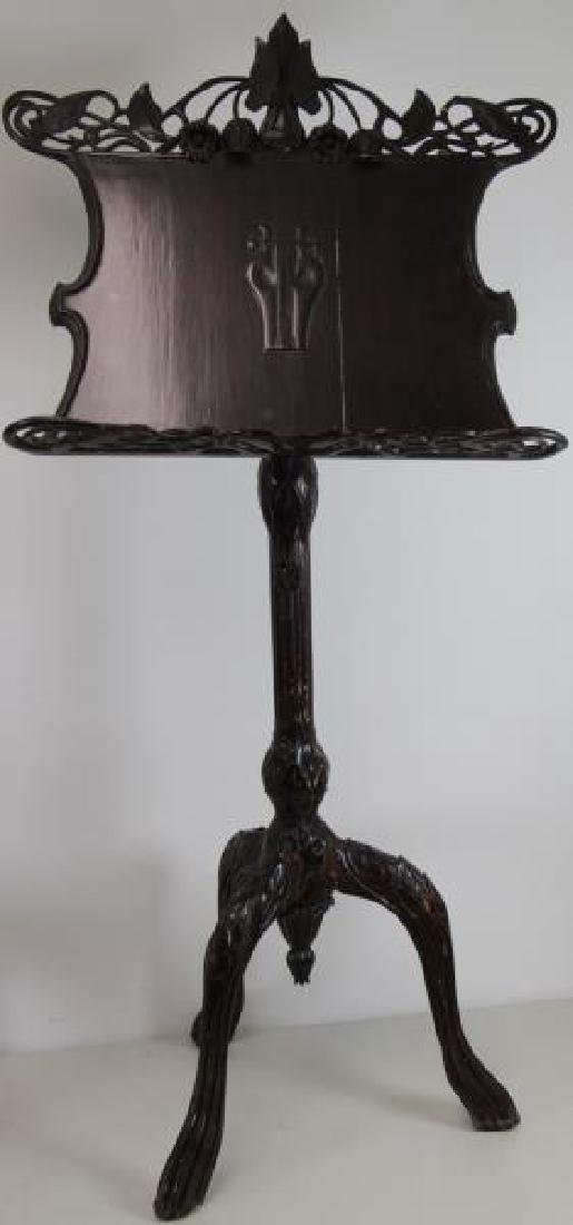 Pair of Finely Carved Art Nouveau Music Stands. - 3